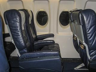 The passenger seats in Fokker 100 aircraft of the airline PGA
