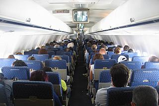 The cabin of the aircraft Boeing-757-200 Aviakompaniya American Airlines
