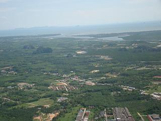 The view from the window after taking off from Krabi airport