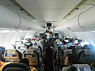 The cabin of the Boeing 757-200 of scat airlines