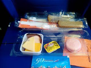 Food on the flight Sochi-Moscow Aeroflot