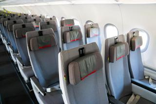 Passengers seats in economy class of Airbus A321LR in the fleet of TAP Portugal