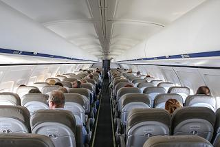 The cabin of the aircraft Boeing-737-300 of airline Bulgaria Air