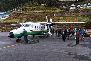 The Dornier 228 aircraft of the airline Tara Air in Lukla airport