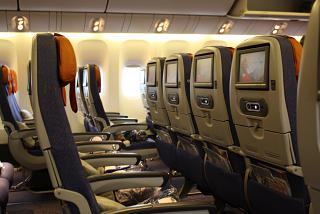 The economy class cabin on the Boeing-777-300 Aeroflot