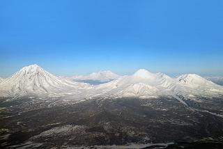 Koryaksky, Avachinsky and Kozelsky volcanoes in Kamchatka