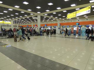 The check-in area in terminal E of airport Moscow Sheremetyevo