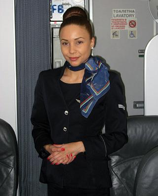 A stewardess with the airline Bulgaria Air