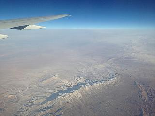 In flight over Uzbekistan