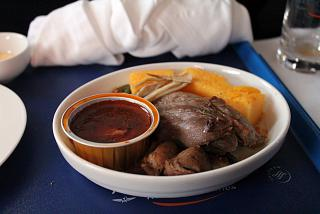 Main dish (lamb shank) in business class of Aeroflot on the flight Tivat-Moscow