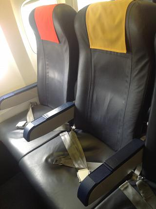 The passenger seats on the Boeing-737-700 Georgian airlines