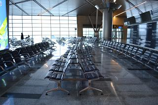 The waiting room at the domestic flights in terminal A of Vnukovo airport