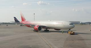 Boeing-777-300 of Rossiya Airlines in the Moscow Sheremetyevo airport