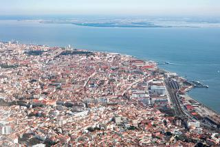 Lisbon historic city center - view from the plane before landing