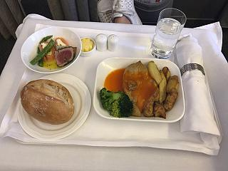 Breakfast in the business class of Emirates airlines