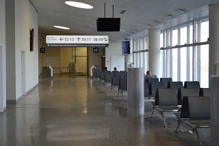 The waiting room in clean area of Samara airport Kurumoch