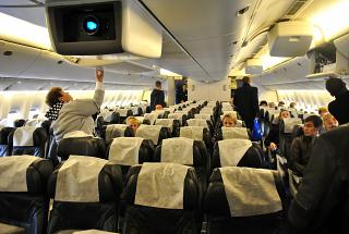 The passenger cabin of the Boeing-777-200 airlines Orenair