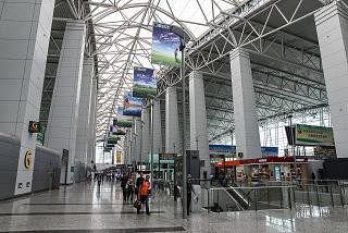 In the passenger terminal of Guangzhou Baiyun international airport