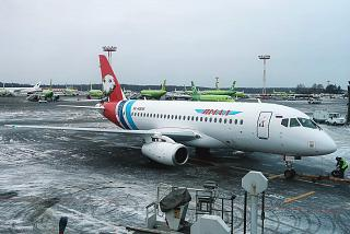 "Plane Sukhoi Superjet-100 of airline ""Yamal"" at Domodedovo airport"