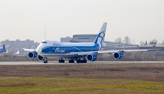 A cargo airliner Boeing 747-8F taking off at the airport of Irkutsk