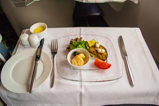 The appetizer in business class of Aeroflot on flight Bangkok-Moscow