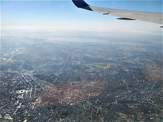 Flying over the centre of Kiev after taking off from Boryspil airport