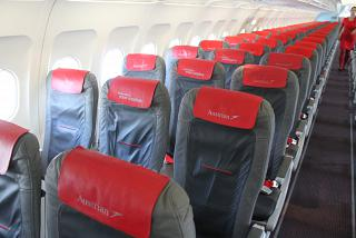 The cabin of the Airbus A320 Austrian airlines