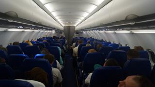 The cabin of the Airbus A319 Aeroflot