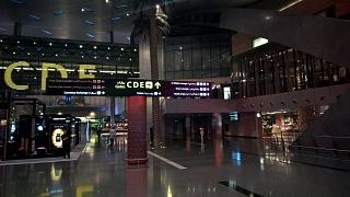 In the passenger terminal at Hamad airport