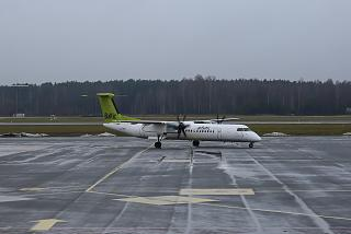 Bombardier Dash 8Q-400 airline airBaltic in Riga airport