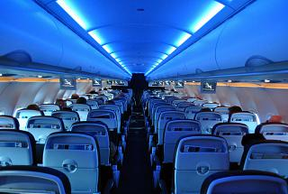 The cabin of the Airbus A320 British Airways