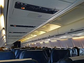 """The passenger cabin of the Boeing-737-500 of airline """"Belavia"""""""