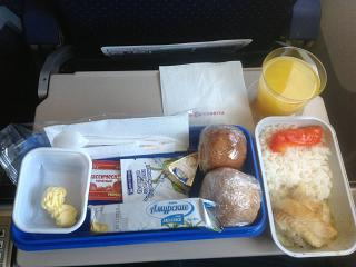 "The second meal on a flight Blagoveschensk-Moscow airlines ""Russia"""