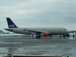 Airbus A320 of the airline SAS at the airport Pulkovo
