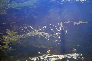 View from the plane to the ski resort Bukovel in Ukraine