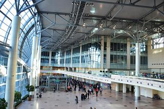 And arrival hall passengers at Domodedovo airport