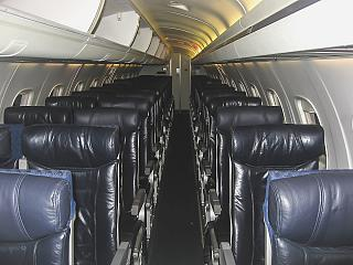 The passenger cabin of the Embraer ERJ140