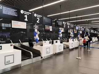 Check-in desks at the airport Gagarin in Saratov