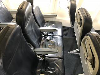 The passenger seats in the Boeing-737-500 of airline, airBaltic
