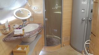 Shower room the Airbus A380 of Emirates airlines