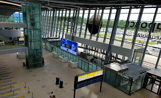 View inside the new terminal of the Khabarovsk Novy airport