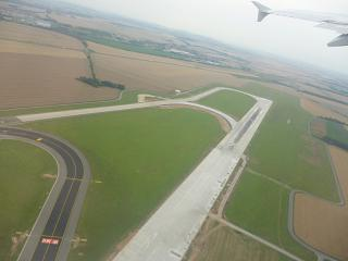 Take off on the second runway of the airport of Prague