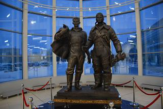 Monument to military aviators in the air terminal of airport Tolmachevo