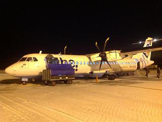 The plane ATR of 72 airlines Flybe Nordic in Kajaani airport
