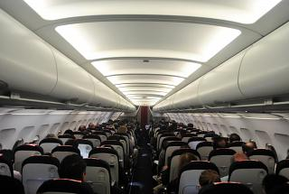 The passenger compartment of an Airbus A318 of Air France