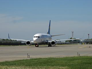 The Boeing 737-300 Ukraine International airlines at the airport Kiev Borispol