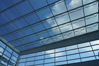 The transparent roof of the passenger terminal of the Brindisi airport