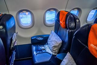 Business class Premier on the plane Airbus A321 Aeroflot