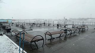 Outdoor area for passengers at the airport Yelizovo of Petropavlovsk-Kamchatsky