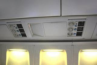 The panel above the passenger seat in the aircraft Boeing-737-200
